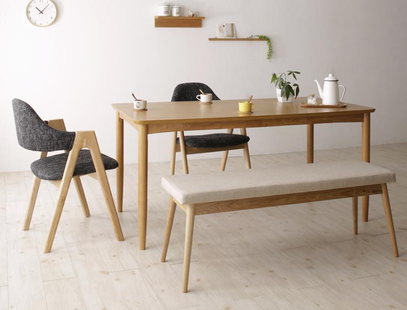 【キャッシュレス5%還元】天然木 北欧ナチュラルデザイン ダイニング Tiffin ティフィン 4点セット(テーブル+チェア2脚+ベンチ1脚) W150