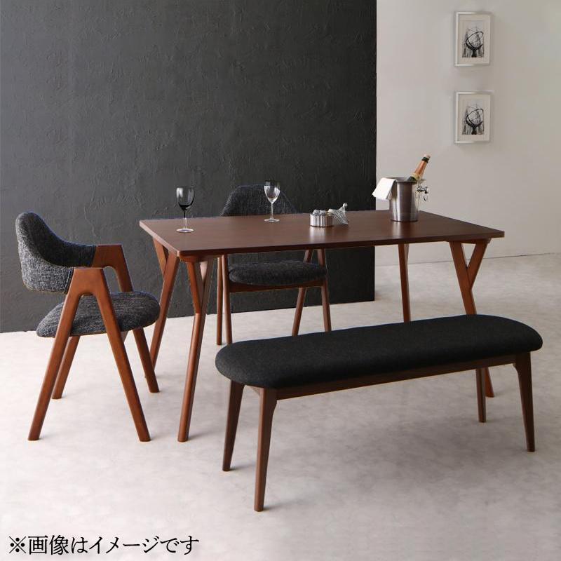 天然木ウォールナット材 モダンデザインダイニング WAL ウォル 4点セット(テーブル+チェア2脚+ベンチ1脚) W170