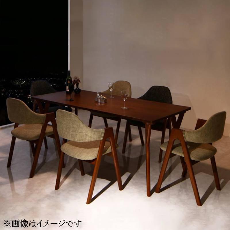 天然木ウォールナット材 モダンデザインダイニング WAL ウォル 7点セット(テーブル+チェア6脚) W170