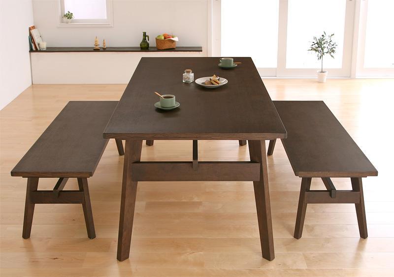 【キャッシュレス5%還元】天然木北欧スタイル ソファダイニング Milka ミルカ 3点セット(テーブル+ベンチ2脚) W160