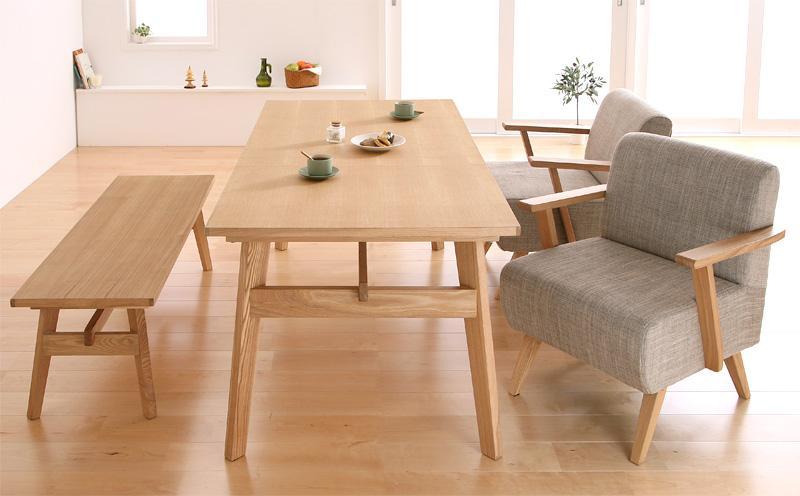 【キャッシュレス5%還元】天然木北欧スタイル ソファダイニング Milka ミルカ 4点セット(テーブル+チェア2脚+ベンチ1脚) W160