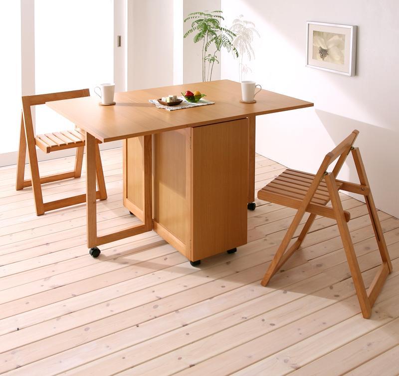 天然木バタフライ伸長式収納ダイニング kippis! キッピス 3点セット(テーブル+チェア2脚) W40-120