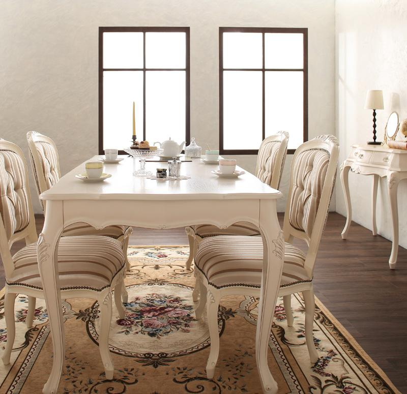 【キャッシュレス5%還元】ヨーロピアンクラシックデザイン アンティーク調ダイニング Salomone サロモーネ 5点セット(テーブル+チェア4脚) W135