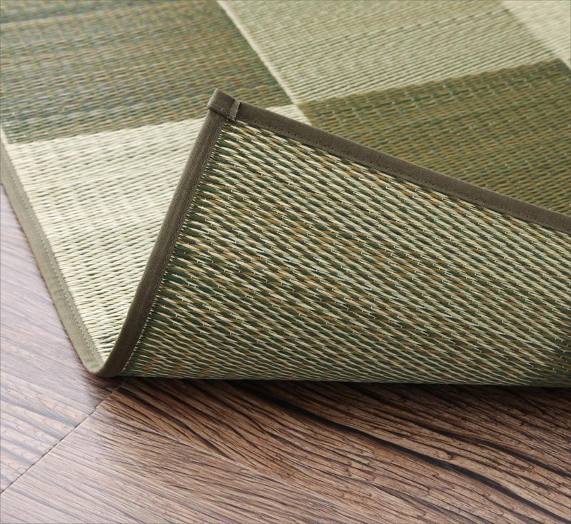 【キャッシュレス5%還元】厚みが選べる3タイプ 純国産ブロック柄い草ラグ casule カジュール ウレタンなし 140×200cm