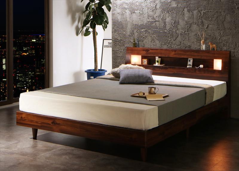 【キャッシュレス5%還元】モダンライト・コンセント付きすのこベッド Letizia レティーツァ スタンダードボンネルコイルマットレス付き ダブル