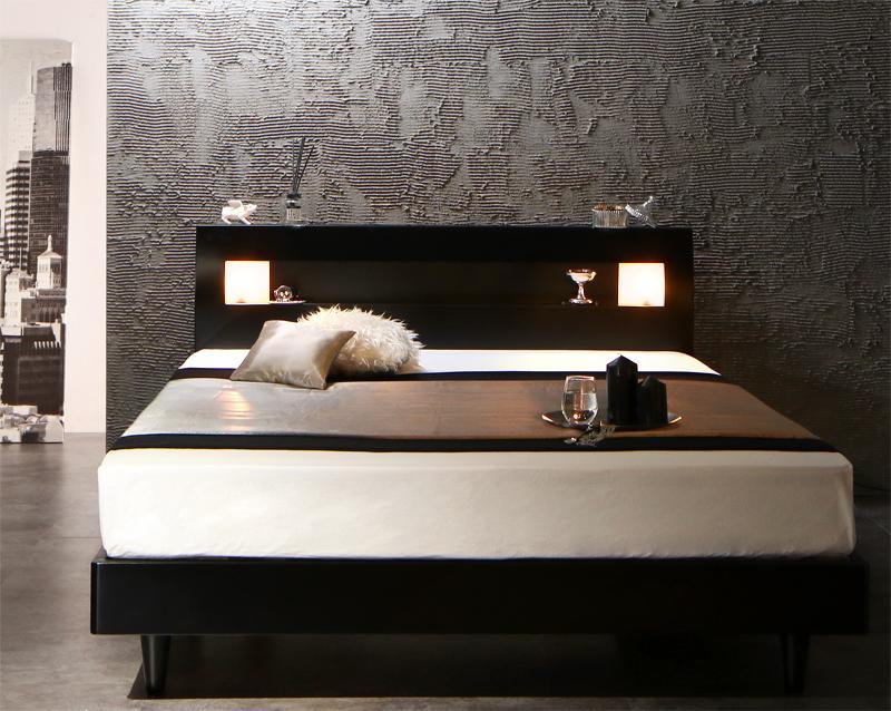 【キャッシュレス5%還元】モダンライト・コンセント付きすのこベッド Letizia レティーツァ スタンダードポケットコイルマットレス付き ダブル
