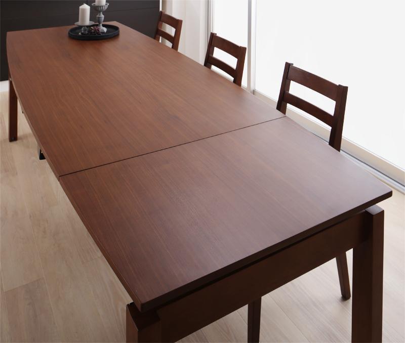【キャッシュレス5%還元】天然木ウォールナット材 デザイン伸縮ダイニングセット Kante カンテ ダイニングテーブル W140-240