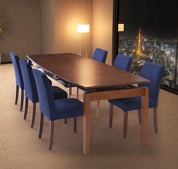 天然木ウォールナット材 デザイン伸縮ダイニングセット WALSTER ウォルスター 7点セット(テーブル+チェア6脚) W140-240