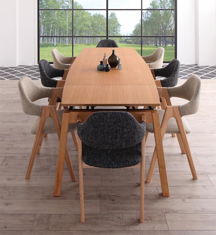 【キャッシュレス5%還元】天然木オーク材 スライド伸縮式ダイニングセット MALIA マリア 9点セット(テーブル+チェア8脚) W140-240