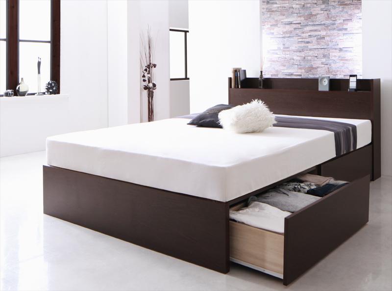 【キャッシュレス5%還元】お客様組立 国産 棚・コンセント付き収納ベッド Fleder フレーダー 羊毛入りゼルトスプリングマットレス付き 床板仕様 ダブル