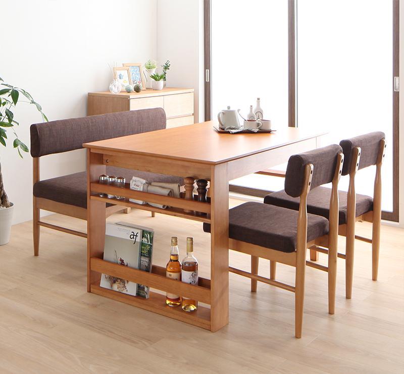 3段階伸縮テーブル カバーリング ダイニング humiel ユミル 4点セット(テーブル+チェア2脚+背付ベンチ1脚) W120-180