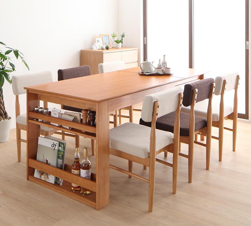 3段階伸縮テーブル カバーリング ダイニング humiel ユミル 7点セット(テーブル+チェア6脚) W120-180