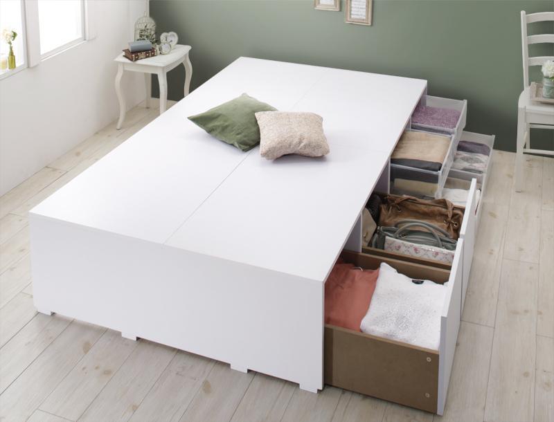 衣装ケースも入る大容量収納ベッド Friello フリエーロ ベッドフレームのみ 引出し2杯 シングル