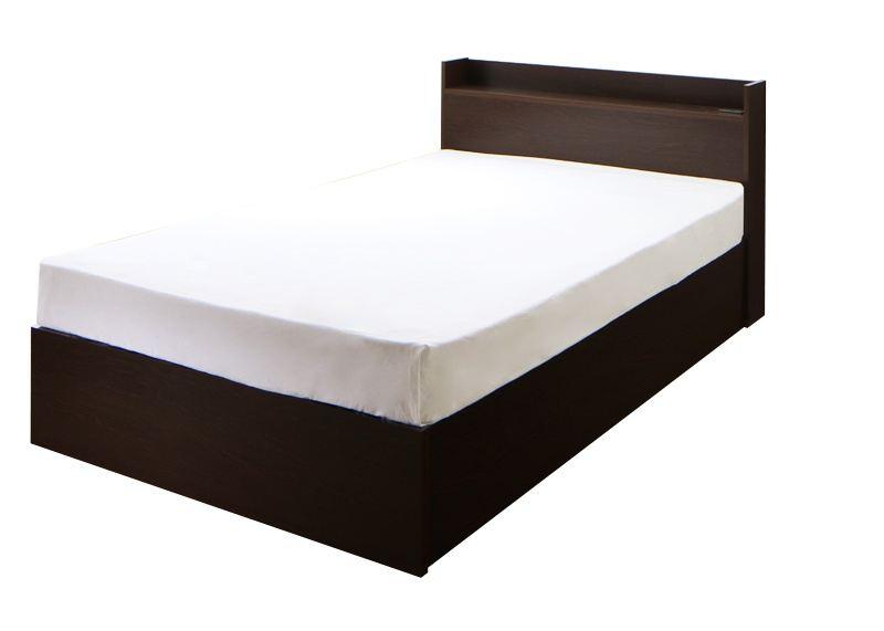 連結 棚・コンセント付収納ベッド Ernesti エルネスティ 羊毛入りデュラテクノマットレス付き 床板 Bタイプ シングル