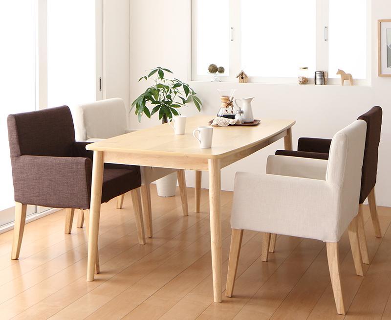 天然木 アッシュ材 ゆったり座れる ダイニング eat with. イートウィズ 5点セット(テーブル+チェア4脚) W150