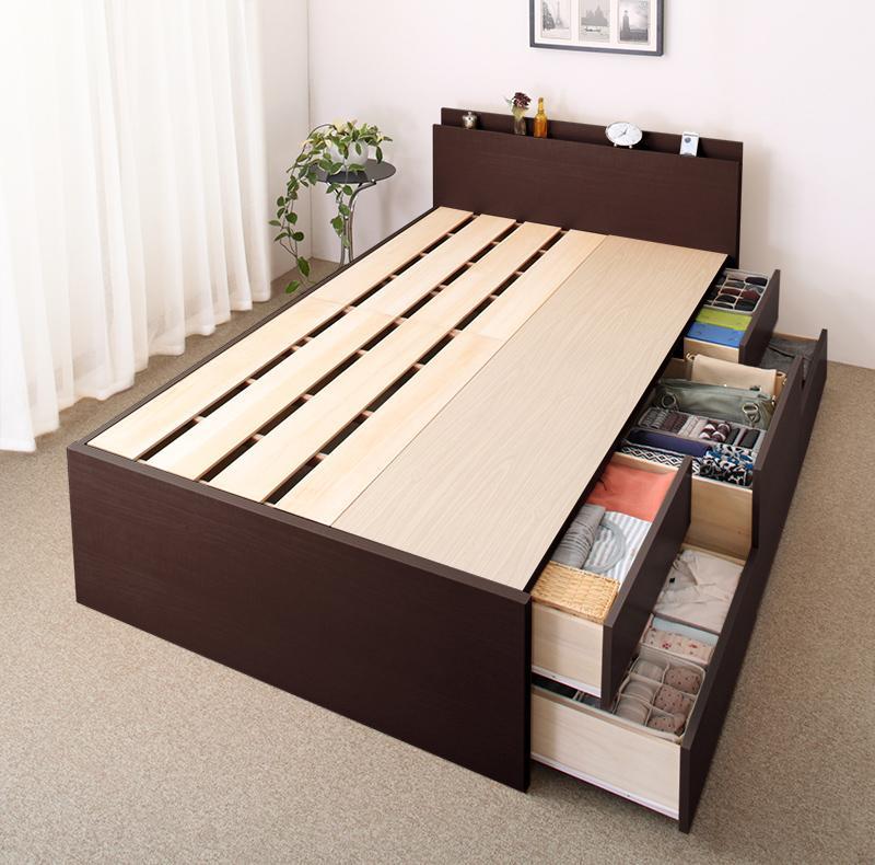 長く使える棚・コンセント付国産頑丈チェスト収納ベッド Heracles ヘラクレス ベッドフレームのみ セミシングル