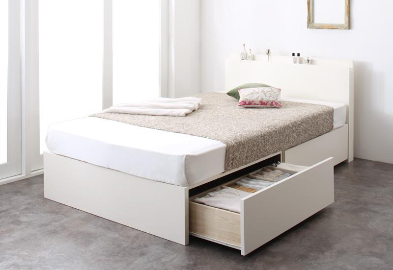 長く使える棚・コンセント付国産頑丈2杯収納ベッド Rhino ライノ デュラテクノマットレス付き シングル