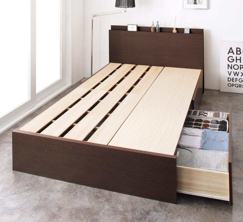 組立設置 長く使える棚・コンセント付国産頑丈2杯収納ベッド Rhino ライノ ベッドフレームのみ ダブル