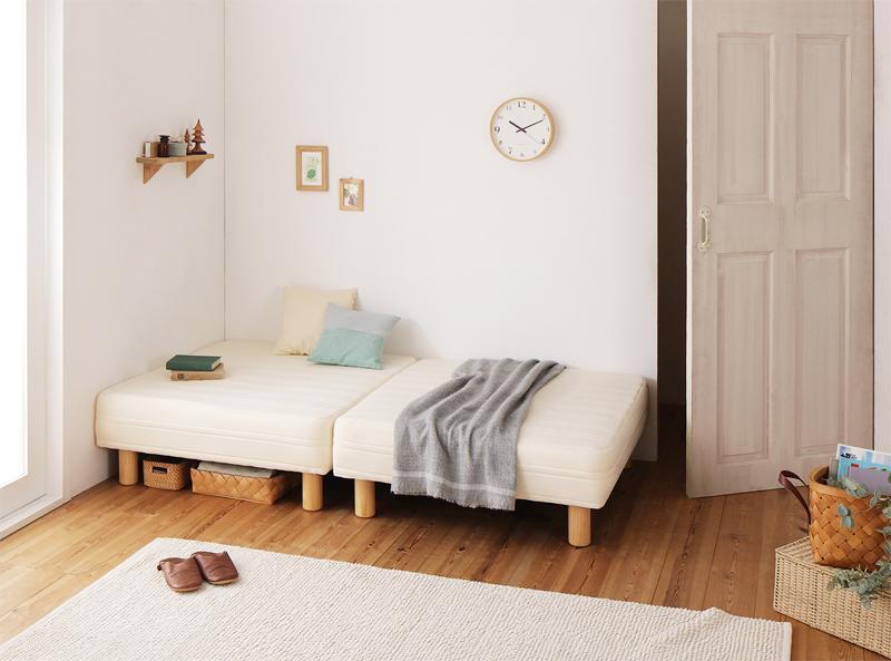 搬入・組立・簡単 コンパクト 分割式 脚付きマットレスベッド 国産ポケット マットレスベッド セミシングル ショート丈 脚22cm