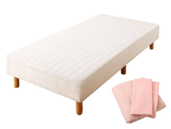 搬入・組立・簡単 コンパクト 分割式 脚付きマットレスベッド ボンネルコイル お買い得ベッドパッド・シーツセット付き シングル ショート丈 脚30cm