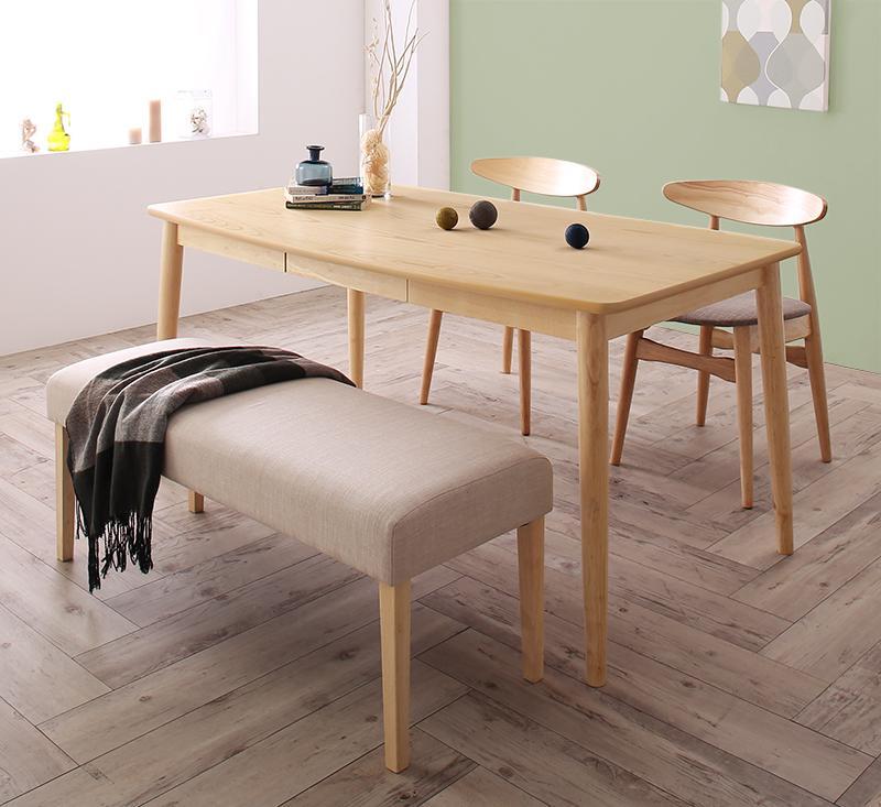 【キャッシュレス5%還元】北欧スタイル ダイニング Laurel ローレル 4点セット(テーブル+チェア2脚+ベンチ1脚) W150