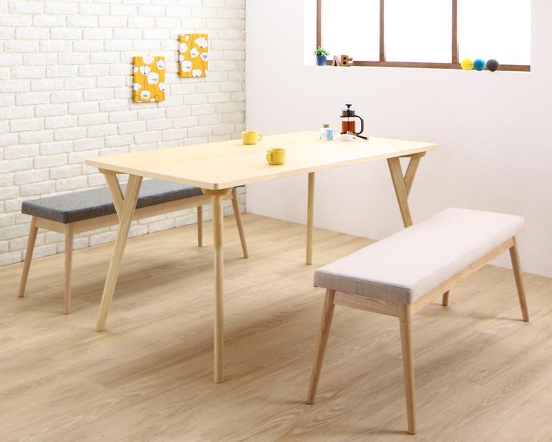 【キャッシュレス5%還元】やさしい色合いの北欧スタイル ソファベンチ ダイニング Peony ピアニー 3点セット(テーブル+ベンチ2脚) W140