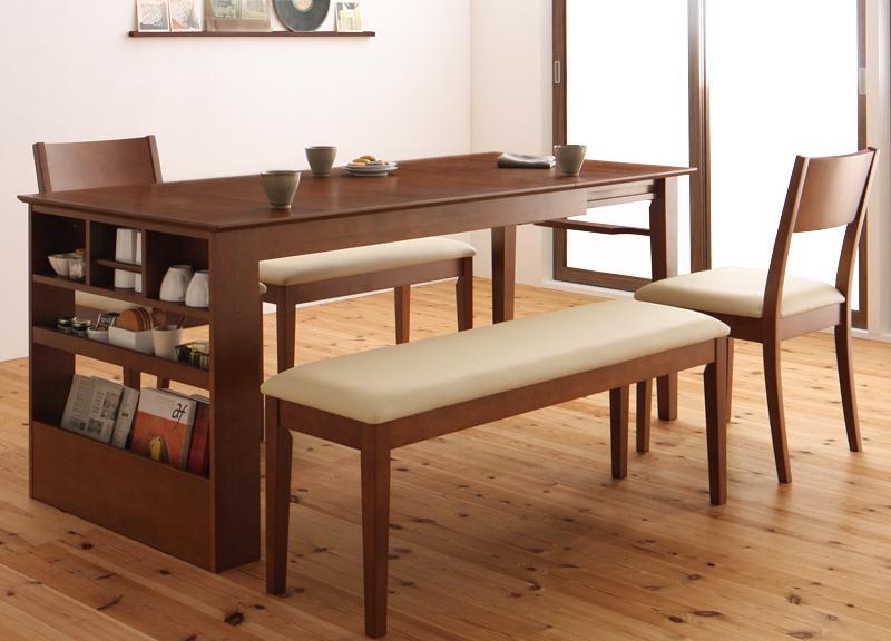 ベンチが収納できる 省スペースエクステンションダイニング flein フラン 5点セット(テーブル+チェア2脚+ベンチ2脚) W135-170