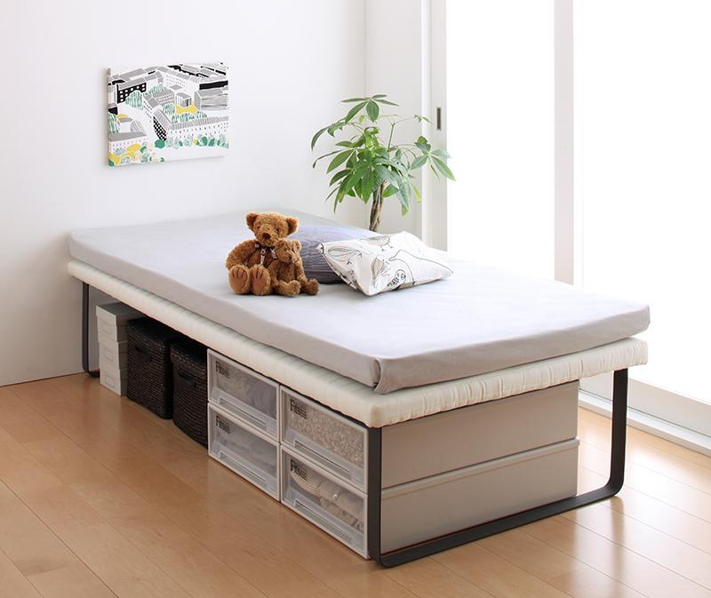 【キャッシュレス5%還元】親子ベッド Bene&Chic ベーネ&チック 薄型軽量ポケットコイルマットレス付き 上段ベッド シングル