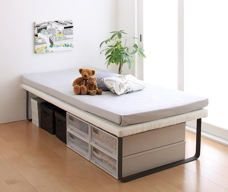 親子ベッド Bene&Chic ベーネ&チック 薄型・抗菌国産ポケットコイルマットレス付き 上段ベッド シングル