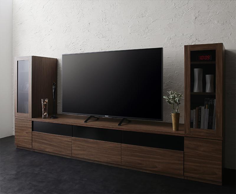 キャビネットが選べるテレビボードシリーズ add9 アドナイン 3点セット(テレビボード+キャビネット×2) ガラス扉 W180