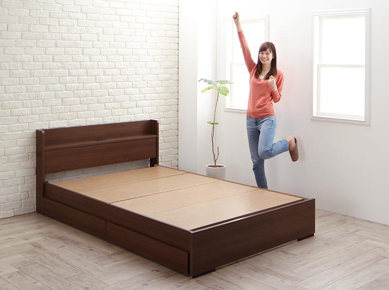 工具いらずの組み立て・分解簡単収納ベッド Lacomita ラコミタ ベッドフレームのみ ダブル