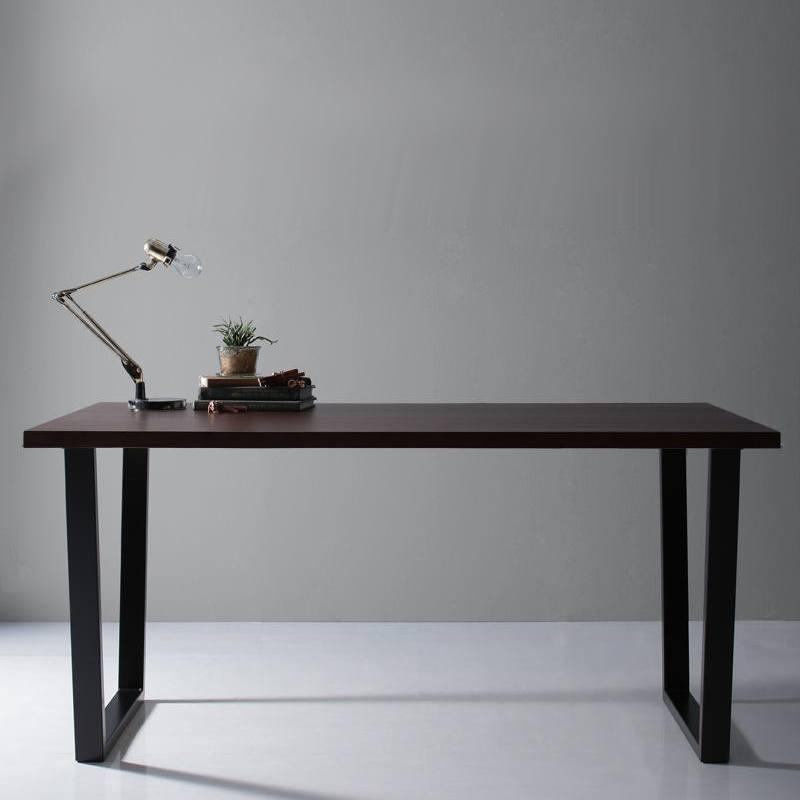 【キャッシュレス5%還元】天然木天板 スチール脚 モダンデザインテーブル Gently ジェントリー ブラウン V字脚 W150
