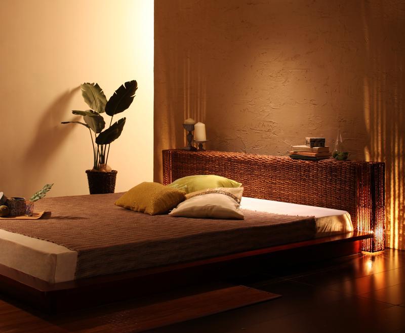 照明付き ステージタイプ アバカ ベッド 癒し ベッドルーム リゾート アジア セミダブルサイズ lena レーナ プレミアムボンネルコイルマットレス付き セミダブル