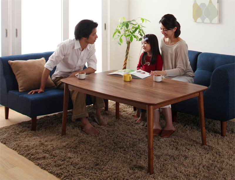 4段階で高さが変えられる 天然木ウォールナット材高さ調整こたつテーブル Nolan ノーラン 4尺長方形(80×120cm)