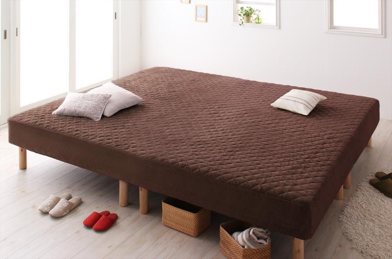 家族を繋ぐ大型 マットレスベッド 連結 ベッド ゆったり 大きいサイズ ファミリー 一緒 脚の高さ ELAMS エラムス ボンネルコイル タオルタイプセット クイーン 脚30cm