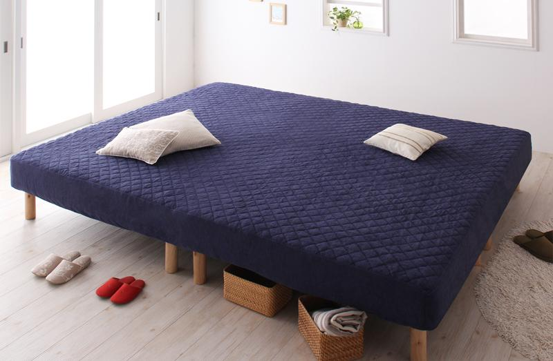家族を繋ぐ大型 マットレスベッド 連結 ベッド ゆったり 大きいサイズ ファミリー 一緒 脚の高さ ELAMS エラムス ポケットコイル マイクロファイバータイプセット キング 脚22cm