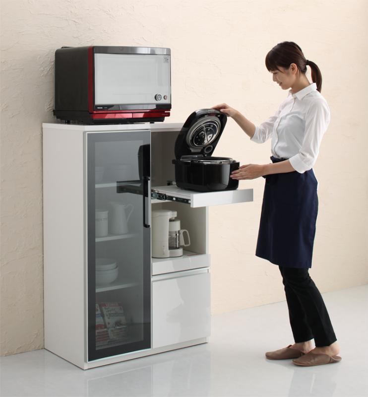 完成品 大型レンジ対応 女性目線でデザインされたおしゃれキッチン収納 Aina アイナ コンパクト食器棚