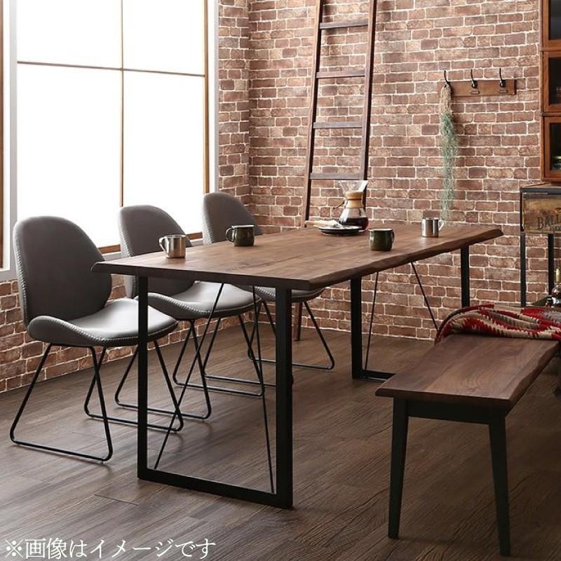 天然木 ウォールナット 無垢材 耳付き 木目 ヴィンテージ デザイン 異素材 アイアン ダイニング Detroit デトロイト 6点セット(テーブル+チェア4脚+ベンチ1脚) ベンチ2P W180