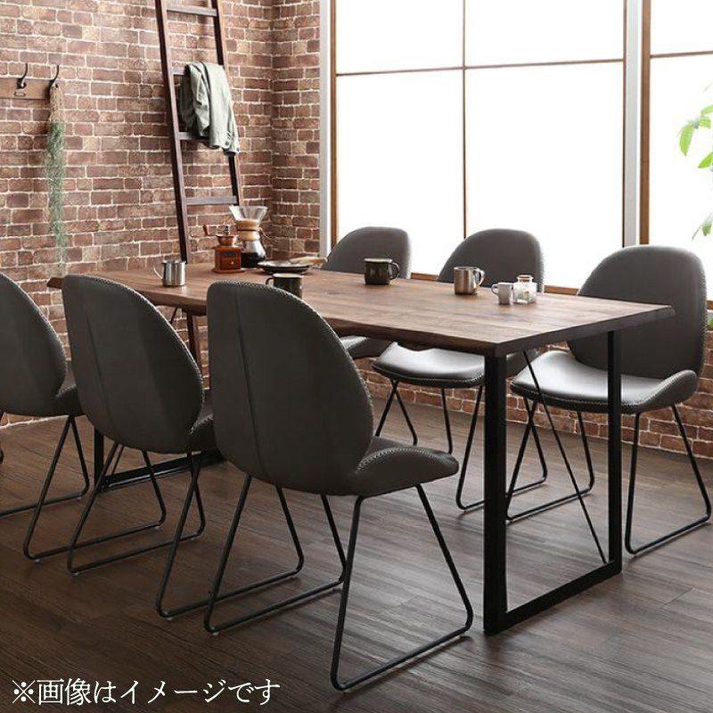 【キャッシュレス5%還元】天然木ウォールナット無垢材ヴィンテージデザインダイニング Detroit デトロイト 7点セット(テーブル+チェア6脚) W180