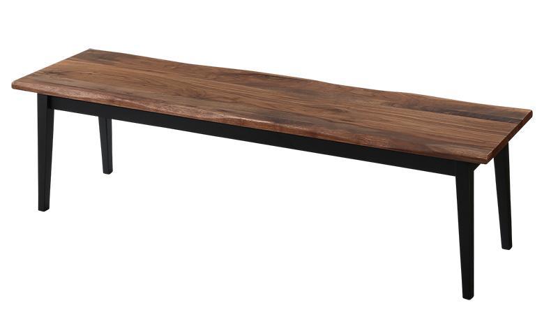天然木 ウォールナット 無垢材 耳付き 木目 ヴィンテージ デザイン 異素材 アイアン ダイニング Detroit デトロイト ベンチ 3P
