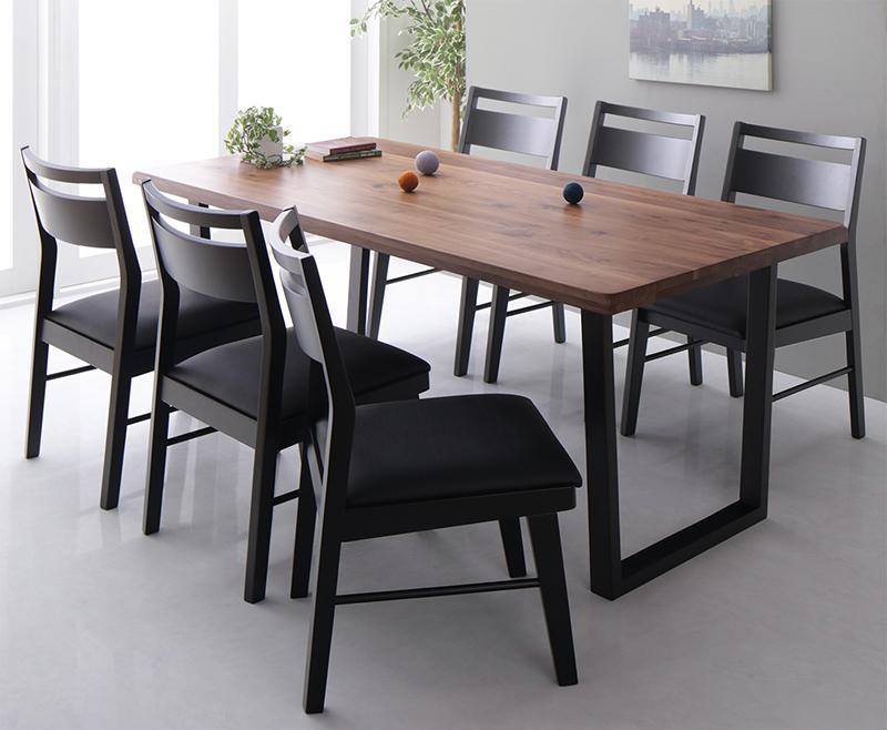 天然木ウォールナット 無垢材 モダン ブラック デザイン 大きいテーブル ダイニング Jisoo ジス 7点セット(テーブル+チェア6脚) W180