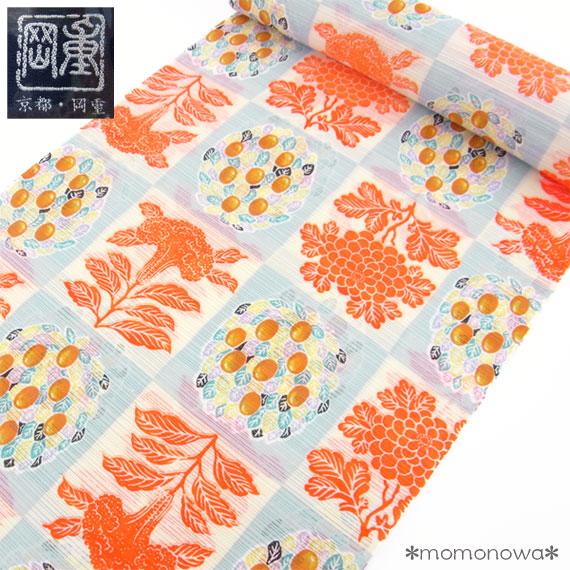 岡重 浴衣 反物 ゆかた 送料無料 日本製 ケイトウ 市松 綿絽 水色 綿100% 粋 レディース 個性的 大人 浴衣(未仕立て)女性用