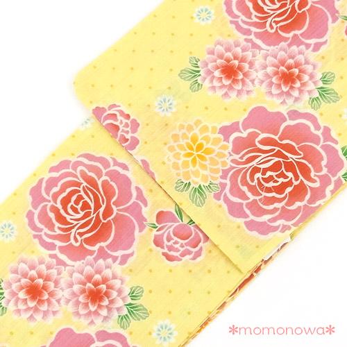 ガーリー レトロ  浴衣 ゆかた 牡丹 菊 ドット レトロ ポップ 可愛い(黄色 イエロー ピンク オレンジ)女性用 155cm-トールサイズ170cmまで対応