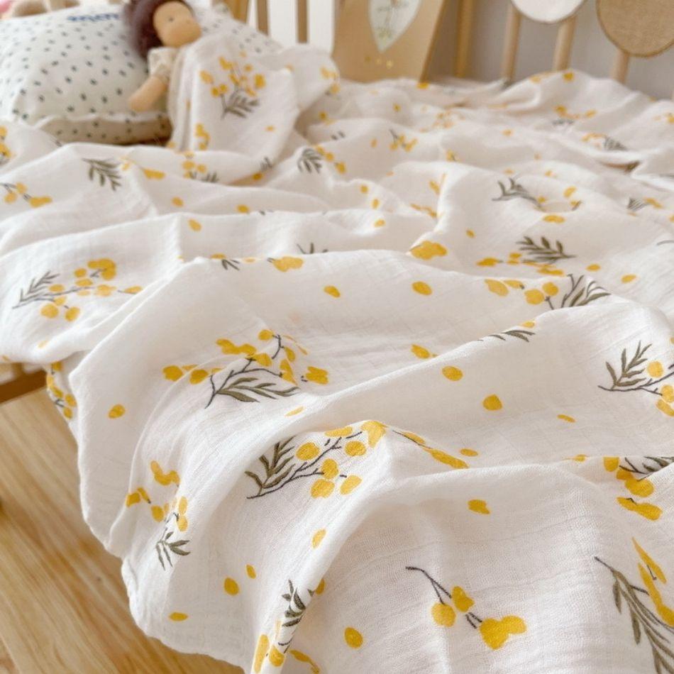 暑い日のお昼寝に mimosa ミモザのガーゼケット 美品 おくるみ セール商品 赤ちゃん プレゼント 新生児