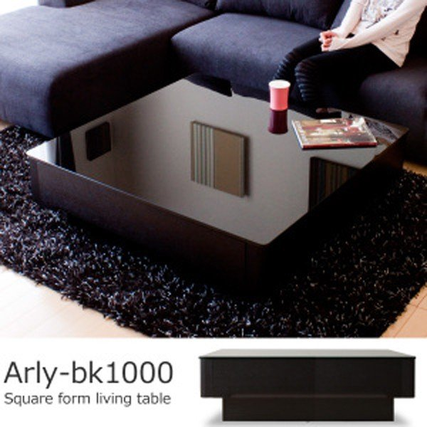 収納付き ブラック 高級感 テーブル ローテーブル センターテーブル リビングテーブル ガラステーブル / Arly-bk1000(正方形タイプ) お買い物マラソン