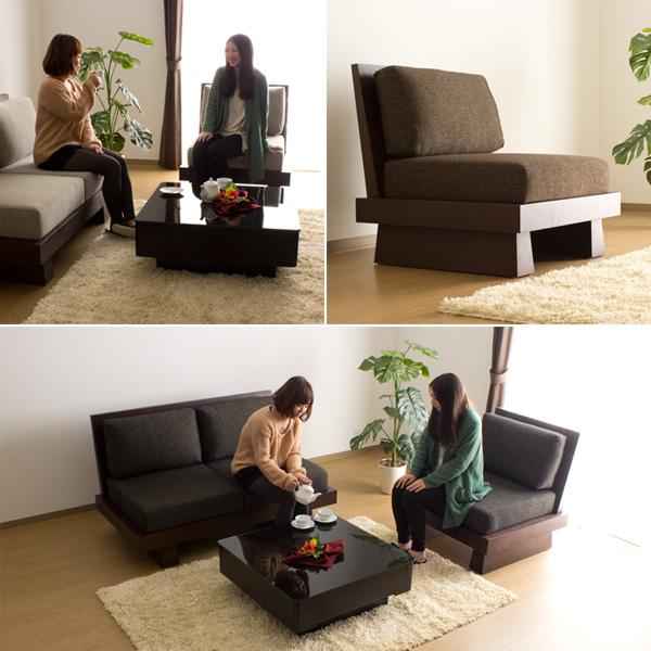 Sofa sofa one seat / Hida Japanese style modern wood frame fabric wooden sofa