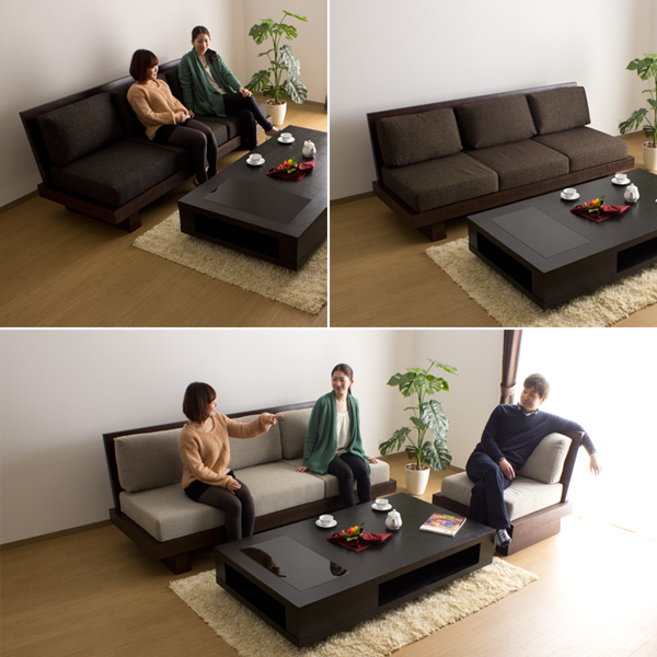 沙发沙发 3 座 / 飞驒日式现代木结构木布艺沙发