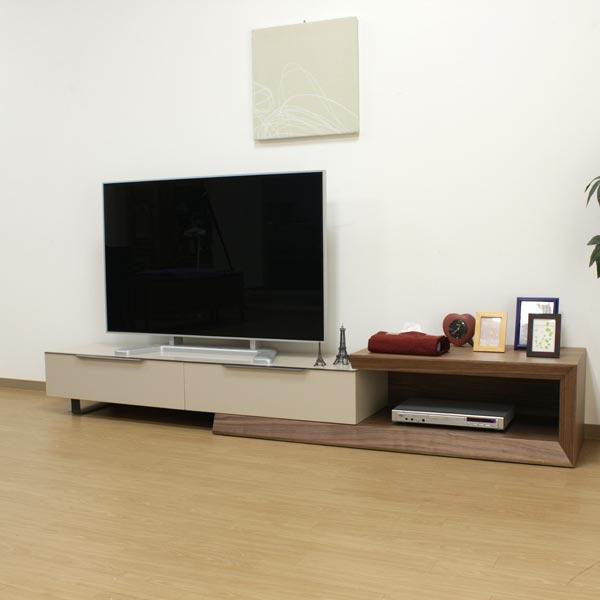 テレビ台 最大2970mmまで伸ばせる大型伸長式TVボード 幅1600 奥行450 ウォールナット MDF材 スチール モダン リビング