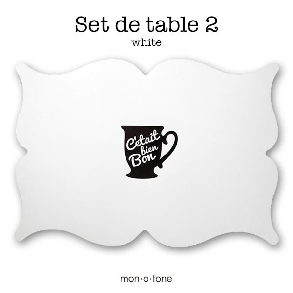 お料理が映える美しい形のテーブルマット 汚れたらサッと水拭きできます モノトーン 白黒 直営ストア ランチョンマット A3 フレンチ フランス Set de ウォールアート ホワイト 驚きの値段で table 2 インテリア