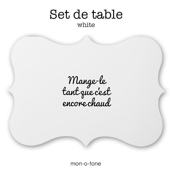お料理が映える美しい形のテーブルマット 汚れたらサッと水拭きできます モノトーン 白黒 ランチョンマット A3 フレンチ de ウォールアート 割り引き Set 時間指定不可 フランス table インテリア ホワイト